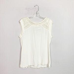Anthropologie | eyelet neckline blouse white M